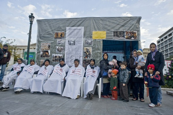Photo from the hunger strike of Afghan people, in  http://www.afghan-gr.blogspot.gr/ ,